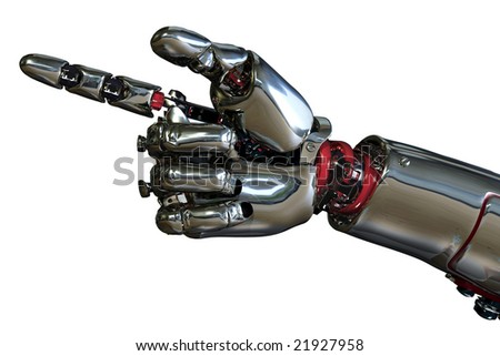 3D render of a robot hand pointing.