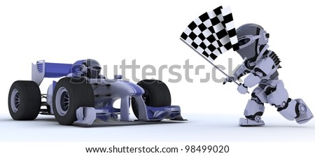 3D render of a Robot in race car winning at chequered flag