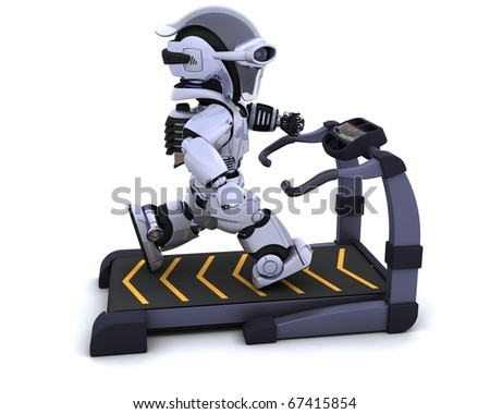 3D render of a robot on a treadmill - stock photo