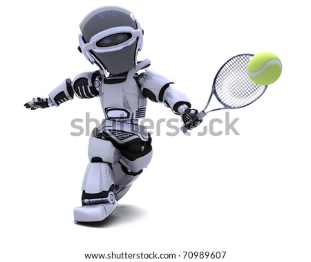 3D render of a Robot playing tennis - stock photo