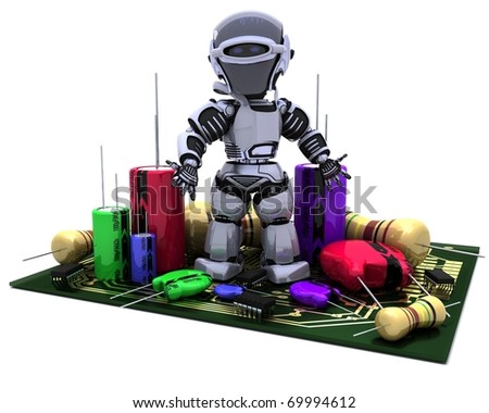 3D Render of a Robot With Capacitors Resistors and semi-conductors