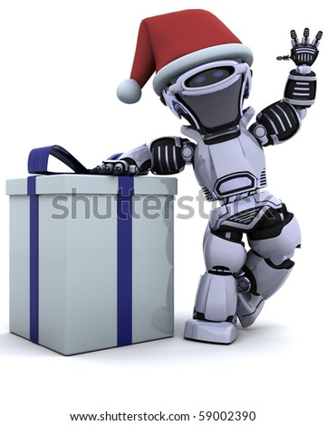 3D render of a robot with christmas gift box with bow