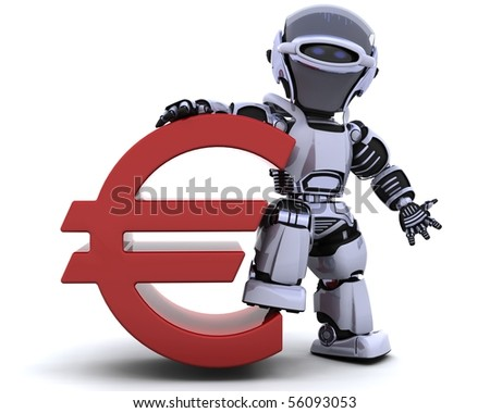 3D render of a robot with euro symbol