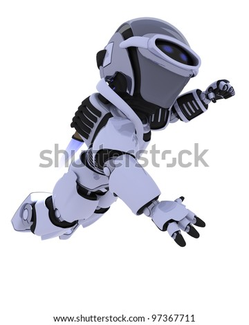 3D render of a robot with jet pack flying