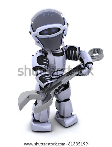 3D render of a robot  with open ended spanner