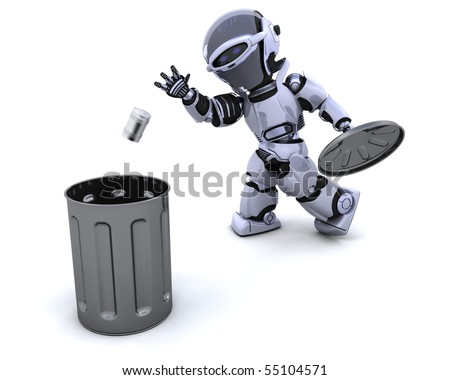 3D render of a robot with trash