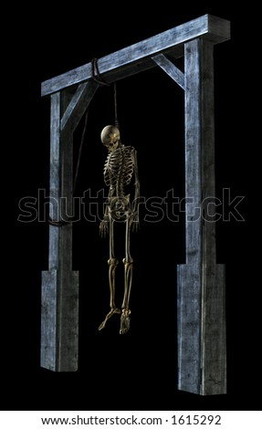 3D render of a skeleton hanging from a noose - on black.