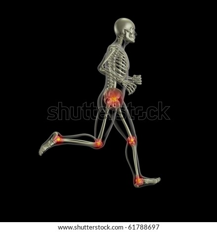 3D render of a skeleton running with leg joints highlighted