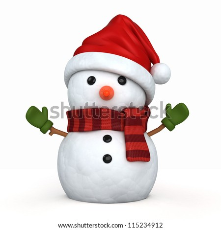 3d render of a snowman wearing santa hat and gloves Сток-фото ©