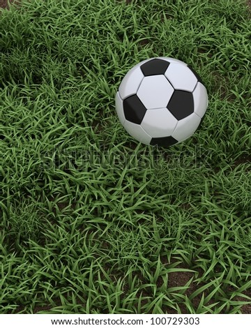 3D render of a Soccer ball on grass pitch
