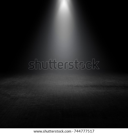 3D render of a spotlight shining down into a grunge interior
