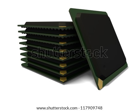 3d render of a stack of ball grid array bga components with soft shadow isolated on a white background