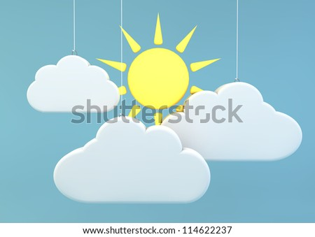 3d render of a sunny day with sun and clouds