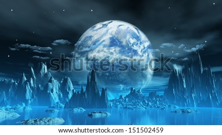 3D render of a surreal ice planet with earth in the sky
