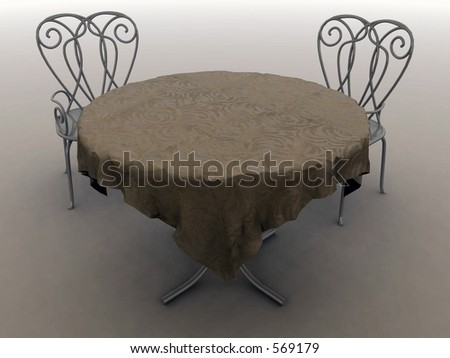 3D Render of a table for 2
