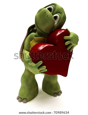 3D render of a Tortoise Caricature hugging a heart