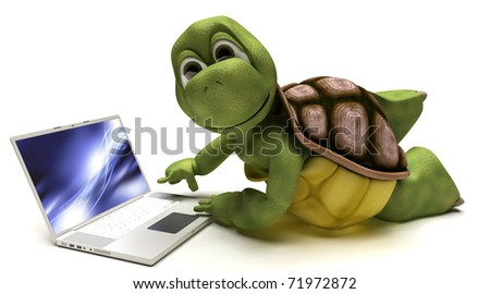 3D render of a Tortoise on a laptop computer
