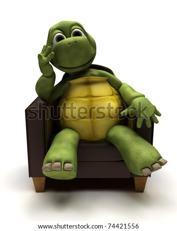 3D Render of a Tortoise relaxing in armchair