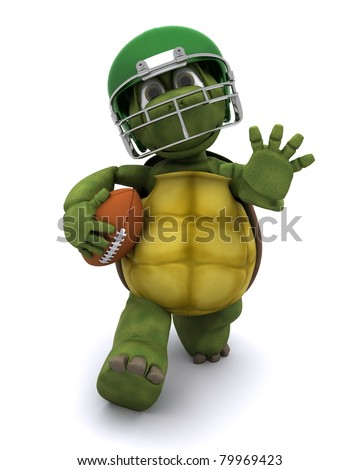 3D Render of a Tortoise running with an american football