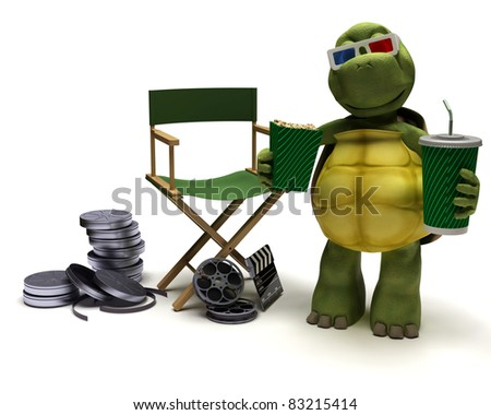 3D render of a tortoise with a directors chair