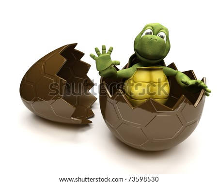 3D Render of a Tortoise with an ester egg