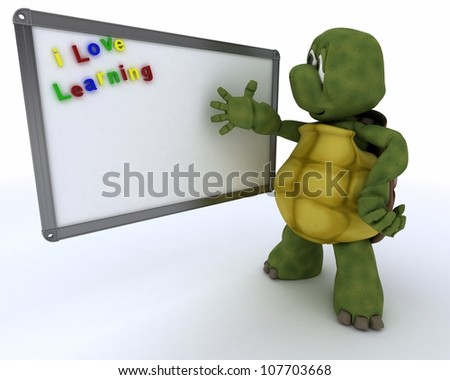 3D render of a tortoise with white classroom drywipe marker board