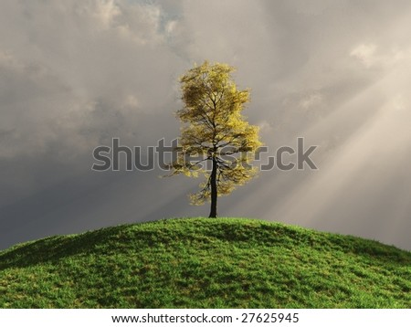 3d render of a tree lit by godrays - stock photo