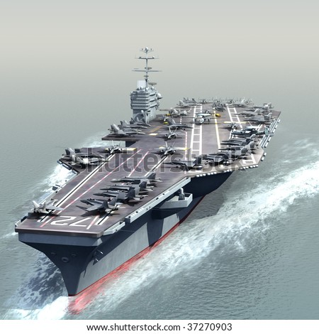 3D Render of a US Navy Nuclear Aircraft carrier (CVN) - stock photo