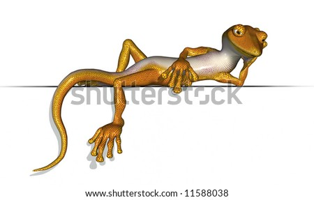 3D render of a very laid back gecko relaxing on an edge.