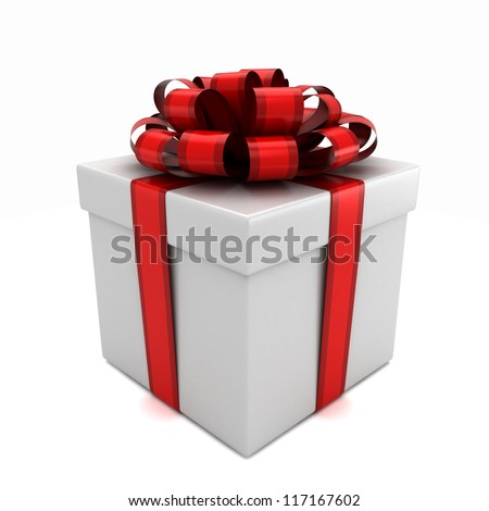 3D render of a white gift box with red ribbon