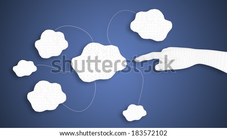 3D render of a white human hand indicating virtual clouds on blu