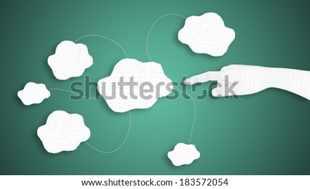 3D render of a white human hand indicating virtual clouds on gre