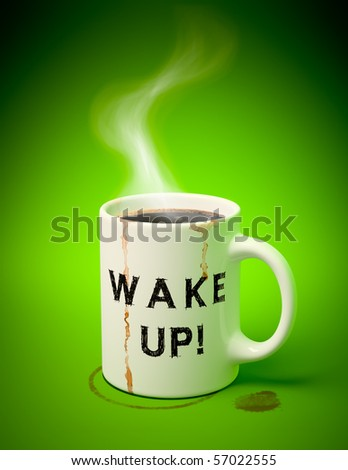 3D render of a white mug with coffee, stains and vapor coming out on green background