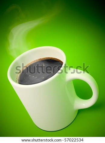 3D render of a white mug with hot coffee and vapor coming out on green background