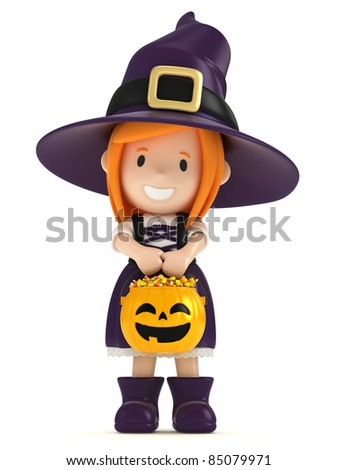 3D render of a witch kid