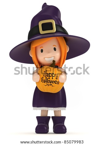 3D render of a witch kid holding a pumpkin