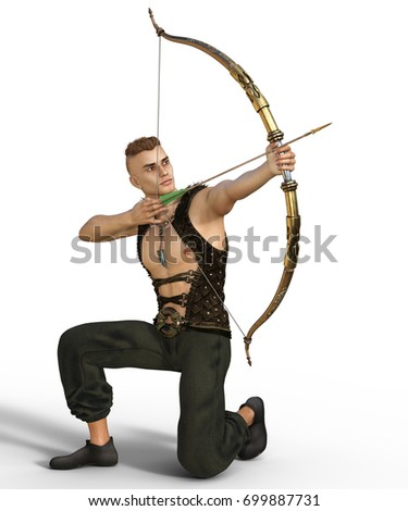 Stock Photo 3d render of a young handsome fantasy archer aiming at some target isolated on white background