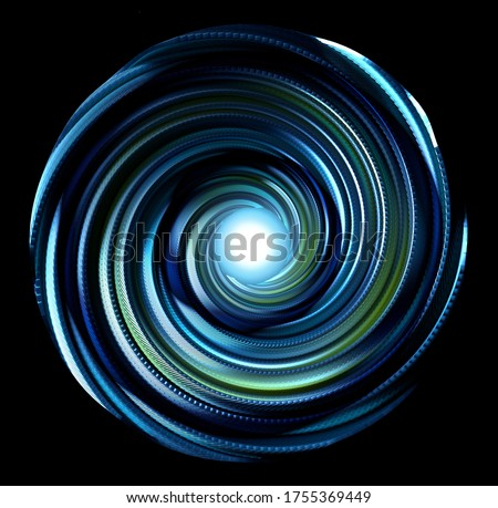 3d render of abstract art 3d atomic mechanical ball, based on metal spiral twisted mechanism with sharp blades, in the centre glowing neon blue light core produce power energy, on black background
