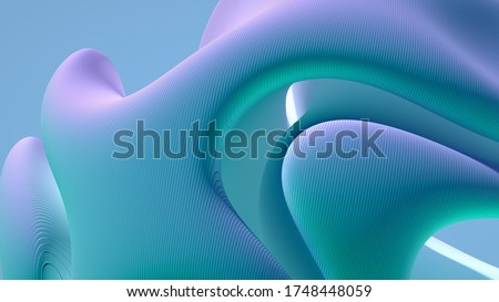 3d render of abstract art 3d background with surreal hills dunes or mountains in spherical round curve forms with curve lines pattern on surface in blue purple white azure and green gradient color Stockfoto ©