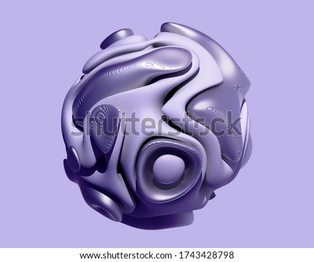 3d render of abstract art 3d ball or sphere in organic curve round wavy smooth and soft bio forms with lines patten on metallic surface in purple color with white ceramic parts on violet background stock photo