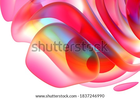 3d render of abstract art fashion 3d background with part of surreal organic curve round wavy elegance meta substance of spherical alien flower sculpture in pink and orange matte glass gradient color