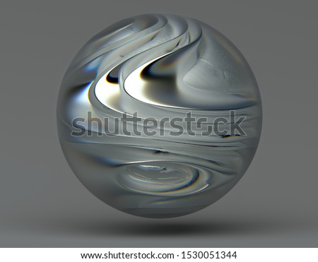 3d render of abstract art object or 3d ball in glass material with blur and dispersion effect on the edges with organic smooth curved form inside in matte and glossy aluminium metal material on gray