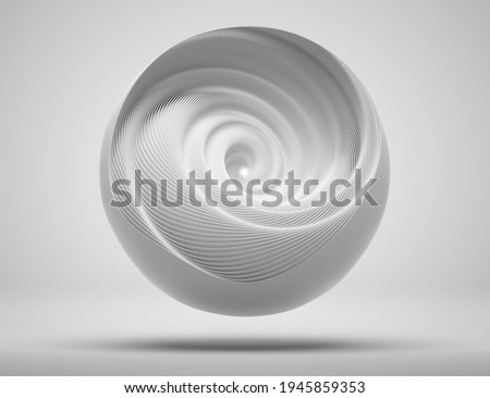 3d render of abstract art of surreal 3d mechanical ball in swirl infinity twisted round shape in light grey matte plastic material with light inside on white background