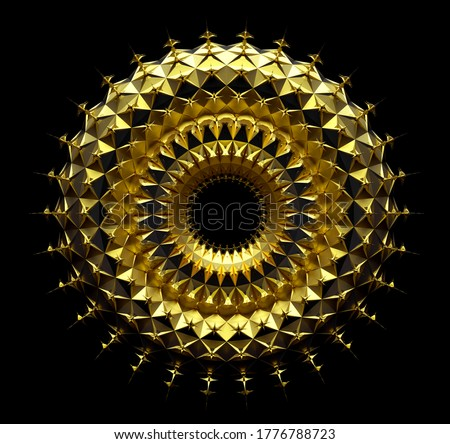 3d render of abstract art of surreal mandala symbol of sun based on spherical fractal ring or torus geometry shape in matte metal yellow gold material in the dark on black background