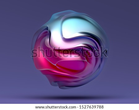 3d render of abstract art piece sculpture in spherical shape based on organic smooth curved forms in matte glass and glossy metal material in pink and blue gradient color on dark violet background