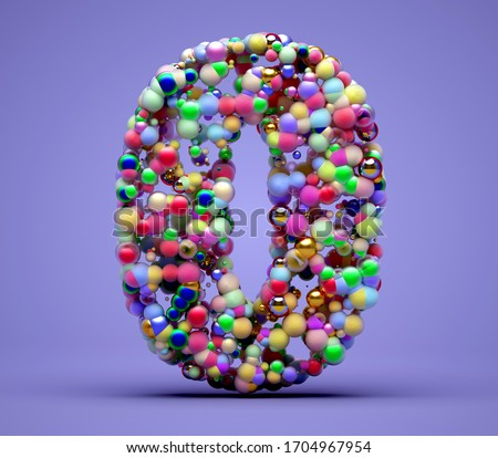 3d render of abstract art with sign or symbol zero or big capital uppercase letter o based on small colourful balls particles in candy multi color red green yellow pink purple on violet background Foto stock ©
