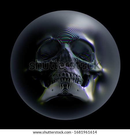 3d render of abstract art with surreal scary spooky 3d scull based on metal wavy wire structure in glass ball with blur and dispersion effect in the dark on black background, cover for halloween card
