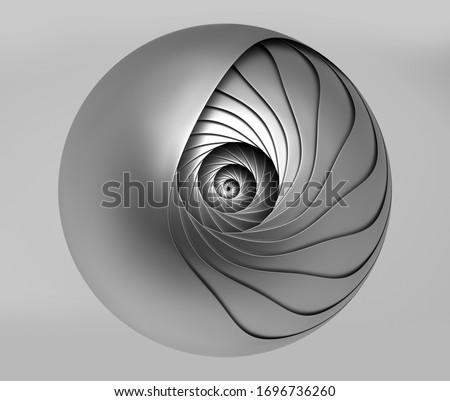 3d render of abstract black and white art of surreal monochrome metal 3d mechanical industrial cyber ball in spiral twisted structure in matte aluminium metal material on grey background
