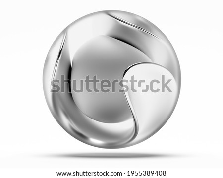 3d render of abstract black and white monochrome art 3d surreal glass sphere with aluminium matte finish sphere core inside and wavy organic curve substance around on isolated white background