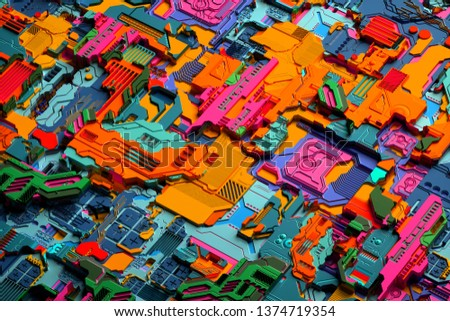 3d render of abstract colourful logic board with microchips micro processors and micro transistors
